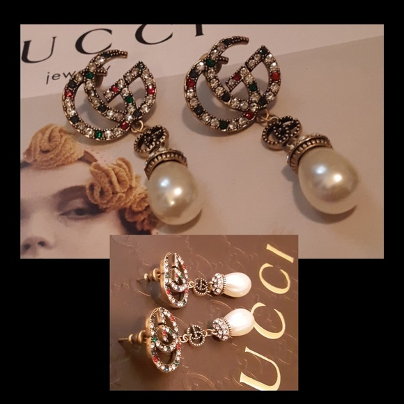 GUCCI Multi Color Stone Pearl Drop Earrings!